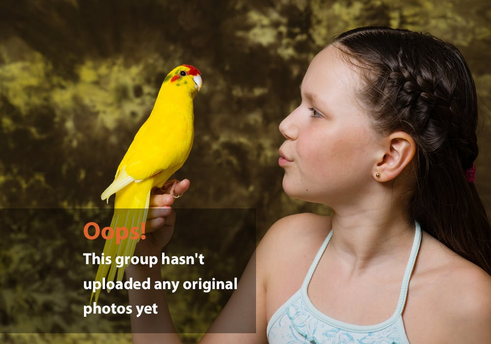 Girl Bird Oops Photo: Tween girl with yellow bird