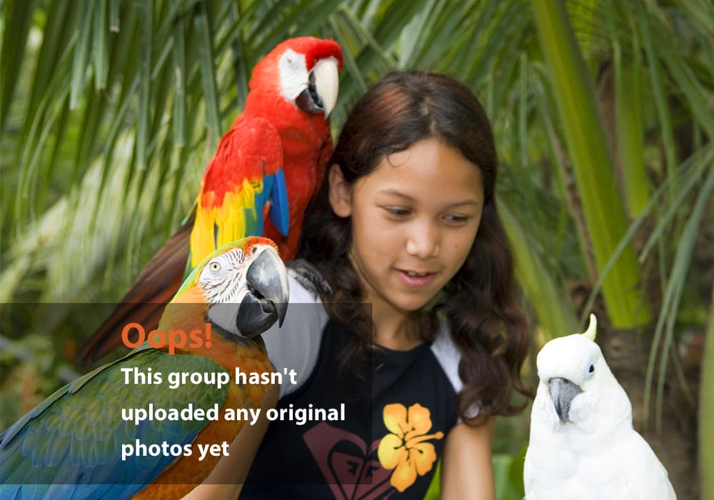 Girl with Exotic Birds Oops Photo – Girl and Three Exotic Birds